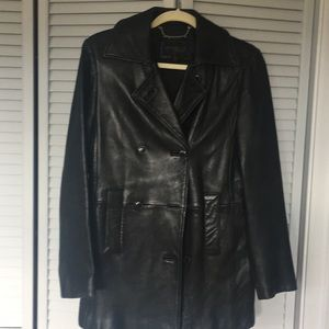 Express Soft Leather Black Jacket Med Thinsulate